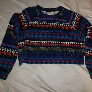 Kate Spade Saturday Geometric Print Crop Sweater